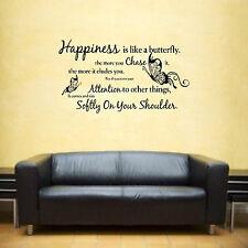 Happiness is wie ein Schmetterling Spruch Vinyl Wandkunst Aufkleber