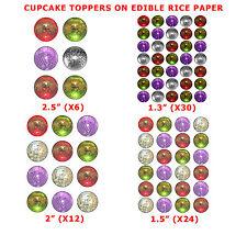 Boules disco mixtes cup glaçages pour gâteau sur Comestibles Papier de Riz Rouge vert, argent, violet
