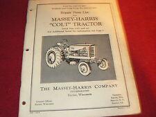 Massey Ferguson Harris Colt Tractor Original Dealer's Parts Book