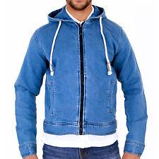Giacca con cappuccio da uomo con cappuccio morbido jersey Denim Blu Small Medium Large XL 2xl 3xl 4x