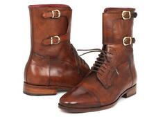 Paul Parkman Mens Shoes Boots Brown High Calfskin Cap Toe Handmade F554-BRW