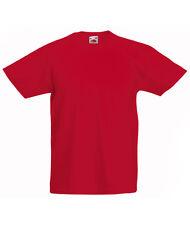 T-shirt Bimbo/Kid/Bambini Rossa FRUIT OF THE LOOM Nuova Maglietta Valueweight