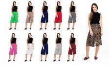 Women Casual Wide Leg Plain Culottes 3/4 Length Ladies Short Trousers Pants 8-26