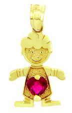Fine Yellow Gold January Birthstone Red Heart CZ Baby Boy Charm Pendant
