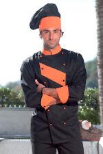 Giacca Cuoco Casacca Chef Uomo Cucina Divisa Cotone da Lavoro Nera Ristorante