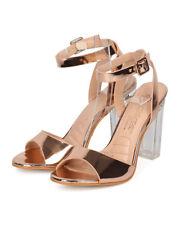New Women DbDk Chacha9 Metallic Leatherette Ankle Strap Lucite Block Heel Sandal
