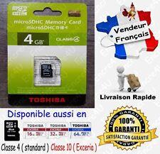 TOSHIBA Micro SD SDHC 4 Go Carte Mémoire Class 4 - Dispo aussi en 8 16 32 64 Gb