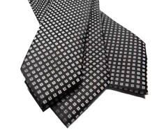 Cravatta in seta nera uomo raso nero lucido con disegni piccoli grigi made Italy
