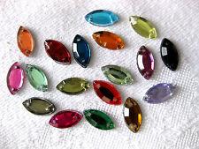 100 Acryl-Strass-Glitzersteine,zum Aufnähen,Farbe wählbar 10 x 5 mm St56