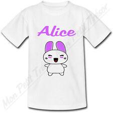 T-shirt Enfant Lapin Kawaii avec Prénom Personnalisé