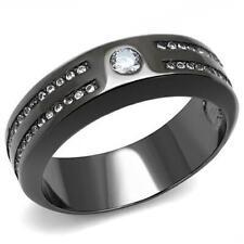 Cz Light Black Stainless Ring Tk3275 Men's 0.11ct Round Aaa Grade Cubic Zircon