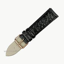 Black Crocodile Grain Leather Wristwatch Band Thin Slim Strap Rose Gold  Buckle