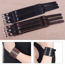 3 Layer New Cool Punk Women Men Wide Leather Belt Bracelet Cuff Bangle Wristband