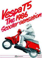 VESPA Brochure T5 1985 to 1992 Classic Scooter Sales Catalog Catalogue REPRO