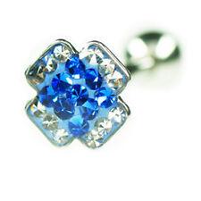 EPOXY Crystal Kreuz Zungen Piercing Zweifarbig viele Kristalle beschichtet 14mm