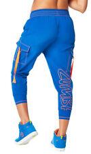 Authentic Zumba World Tour Harem Cargo Dance Pants ~ Surfs Up Blue ~  size L NWT