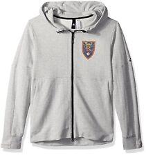 Real Salt Lake adidas Terry Climalite Full Zip Hoodie Men's Gray MLS S M L XL