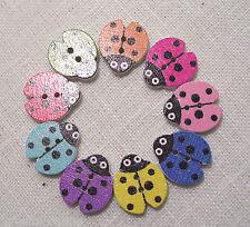 BBF12 - LOT de 6 BOUTONS BOIS COULEUR COCCINELLE **20 x 15 mm** Coloris au choix