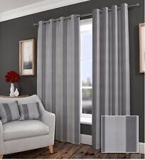 Durban Blockout Ring Top / Eyelet Curtains Grey Stripe. Energy Saving - 9 sizes