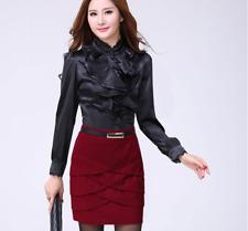 Lady Satin Office Shirt Tops Frill Drape Ruffles Blouse Slim Long Sleeve Vintage