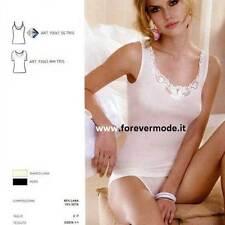Canottiera donna MBV spalla larga in lana seta con profilo in macrame' art 93062