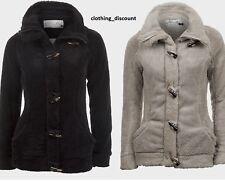 Ladies Womans Teddy Fleece Winter Jacket Coat Black Grey S M 8 10 Warm Brand New