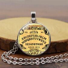 1 Stk Halloween Kostüm Ouija Board Halskette Runde Anhänger Kette Glas Cabochon
