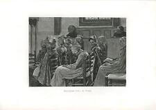 ANTIQUE PURITAN WOMAN GIRLS CHURCH SERMON FALLING ASLEEP CHAIR ART PRINT