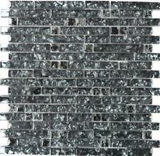 Küchen BAD Fliesenspiegel Glasmosaik Stäbchen changierend grau schwarz  87-MV718
