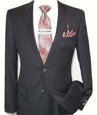 Mens Wool Cashmere Black Stripe Business Suit Giorgio Cosani Two Button 910