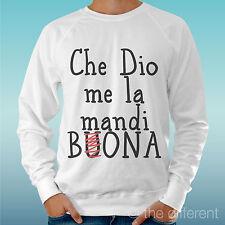 "FELPA UOMO LEGGERA SWEATER BIANCO "" CHE DIO ME LA MANDI BONA "" ROAD TO HAPPINESS"
