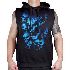 Men's Blue Flame Skull Black Sleeveless Vest Hoodie Workout Fitness Gym Biker