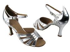Latin Salsa Very Fine Ballroom Competitive Dance Shoes SERA1680 Silver Leather
