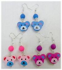 Fun earrings, wood bear, glass bead - choice 3 colours
