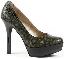 Black Gold Crocodile Print Embossed High Heel Platform Pump Qupid Refine-57