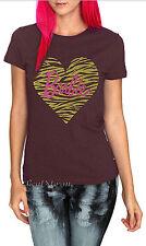 NEW Barbie Doll Pink Heart Animal Leopard print Brown JRS. Ladies Tee T-Shirt