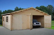 44 mm Holzgarage Roger 20 / 21 / 22 Garage ca. 595x530 cm Blockhaus Carport Holz