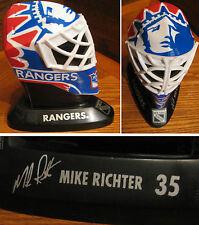 New York RANGERS MIKE RICHTER #35 Hockey Mask Figurine Printed Signature RARE