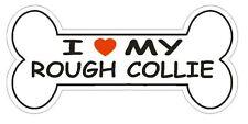 Love My Rough Collie Bumper Sticker or Helmet Sticker D2526 Dog Bone Decal