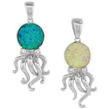 Sterling Silver Octopus Pendant w/ Opal & CZ Stones