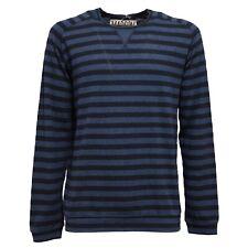 9301S felpa uomo MADSON blu maglia cotone/lino sweatshirt men