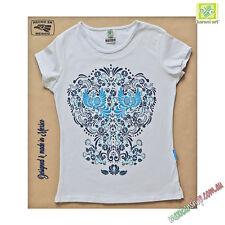 Mexican Top, Women's, Talavera design, Birds & Flowers, Blue serigraph t-shirt
