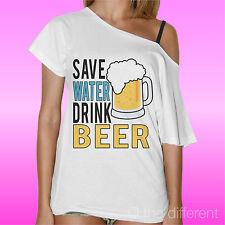 T-Shirt Donna Barca Salva L'Acqua Bevi Birra Idea Regalo