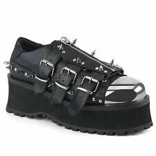 Demonia Mens Gothic Goth Punk Rock Metal Spikes Metal Toe Vegan Platform Shoes