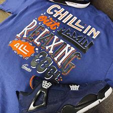 Shirt Match Jordan 4 Loyal Blue Shoes  - Chillin Tee