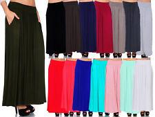 SR Women's High Waist Shirring Long Maxi Skirt w/ Pockets (Size: S-5X)