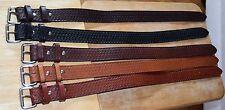 "1 1/4"" wide, solid leather basket weave embossed leather belt"