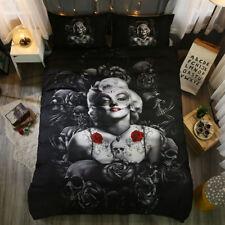 Flora Marilyn Monroe Skull Duvet Cover Twin/Full/Queen/King Pillowcase Bed Set