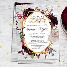 Bridal Shower Invitation - Burgandy & Gold - Marsala - Maroon - Geometric Floral