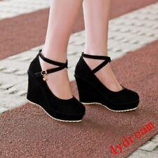 Women Strappy Office Heels Wedge Platform Ankle Strap Faux Suede Closed Toe Shoe